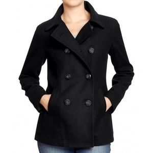 Old Navy Black Wool Blend Double Breasted Peacoat
